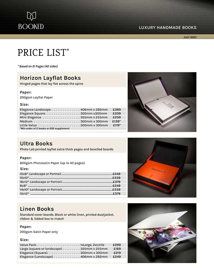 Booked Images Pricelist
